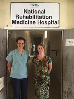 Professor Denise Taylor in front of National Rehabilitation Hospital